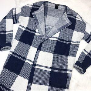 Ann Taylor Navy & White Sweater Cardigan, Pockets